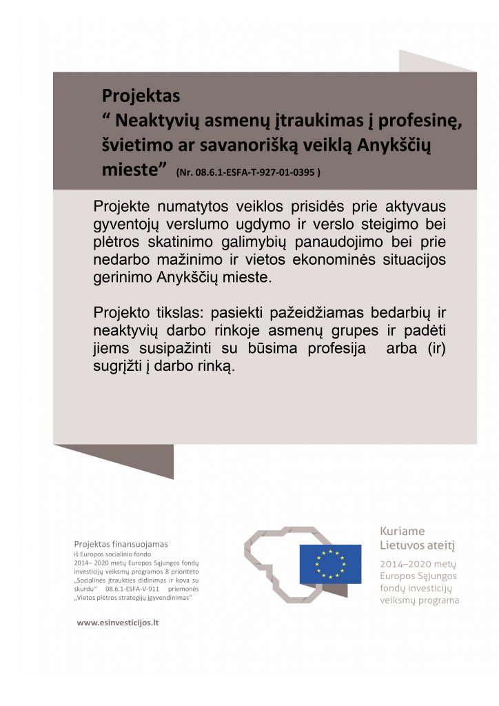 Projektas: Neaktyvių asmenų įtraukimas į profesinę, švietimo ar savanorišką veiklą Anykščių mieste